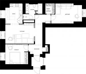 Дизайн трехкомнатной квартиры. Предложенное планировочное решение